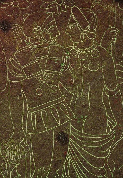 Helena u. Menelaos / etrusk.Bronzespieg. - Helen and Menelaos / Bronze Mirror - Hélène/ Ménélas/ Miroir étrusque, bronze